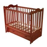 детская кроватка Счастливый малыш Дюймовочка (с маятником и ящиком) Тик