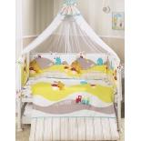 аксессуар к детской кроватке Perina Комплект 7 предметов Кроха Веселый Кролик белый