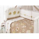 аксессуар к детской кроватке Perina КПБ 3 предмет Тиффани Цветы кофе-молочный