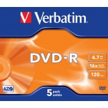Оптический диск DVD-R Verbatim 4.7 Gb, 16x, Jewel Case (5шт)