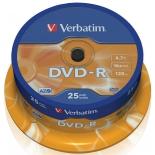 Оптический диск DVD-R Verbatim 4.7 Gb, 16x, Cake Box (25шт)