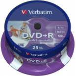 Оптический диск DVD-R Verbatim 4.7 Gb, 16x, Printable, Cake Box (25шт)