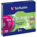 Оптический диск CD-RW Verbatim  700МБ 8x-12x Slim, цветные (5шт)