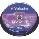 Оптический диск DVD-R Verbatim 4.7 Gb, 16x, Cake Box (10шт)
