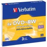 оптический диск DVD+RW Verbatim 4.7 Gb, 4x, Slim (3шт)