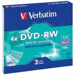 Оптический диск DVD-RW Verbatim 4.7 Gb, 4x, Slim (3шт)