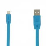 кабель / переходник Remax Full Speed Fast Charging Lightning-USB (M-M, плоский, 1 м), голубой