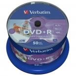 Оптический диск DVD-R Verbatim 4,7 Gb, Printable, Cake Box