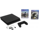 игровая приставка Sony PlayStation 4 CUH-2008B Slim 1Tb  (с играми: Watch Dogs 2, Watch Dogs), Черная