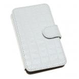 чехол для смартфона Time универсальный, 4 - 4.2'', стикер, кожа, белый крокодил