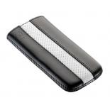 чехол для смартфона Time с ремешком, комбинированный, размер 15 (69х132х10 мм), искусственная кожа, черный с белым