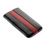 чехол для смартфона Time с ремешком, комбинированный, размер 14 (62х121х11 мм), искусственная кожа, черный с красным