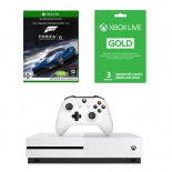 игровая приставка Microsoft Xbox One S 500 Гб, с игрой Forza 6 и подпиской Live Gold на 3 мес.