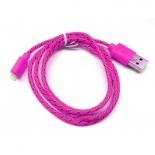 зарядное устройство Дата-кабель Smartbuy USB - 8-pin для Apple, нейлон, длина 1,2 м, розовый (iK-512n pink)/500