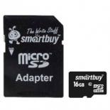 карта памяти SmartBuy microSDHC Class 10 16GB + SD adapter, чёрный