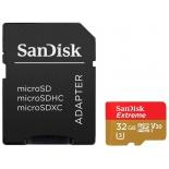 карта памяти SanDisk Extreme microSDHC Class 10 UHS Class 3 V30 90MB/s 32GB, с адаптером