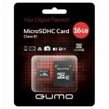 карта памяти Qumo microSDHC 16GB, Class 10, SD-адаптер (QM16GMICSDHC10)