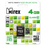 карта памяти Mirex microSDHC Class 10 4GB + SD adapter, Черная