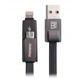 кабель / переходник Remax Strive 2 in1 RC-042T, USB - microUSB/Lightning, 1 м, чёрный