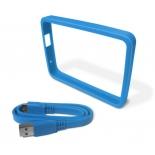 корпус для жесткого диска WD WDBZBY0000NBL-EASN, бампер (+ кабель), для WD My Passport Ultra 500 и 1000 Гб, голубой