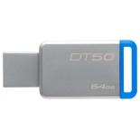usb-флешка Kingston DataTraveler 50 64Gb, серебристо-синяя