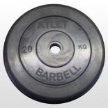 диск для штанги MB Barbell Atlet (26 мм, 20 кг), Черный
