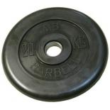 диск для штанги MB Barbell Atlet (31 мм, 20 кг), Черный