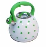 чайник для плиты KELLI KL-4316, Бело-зелёный