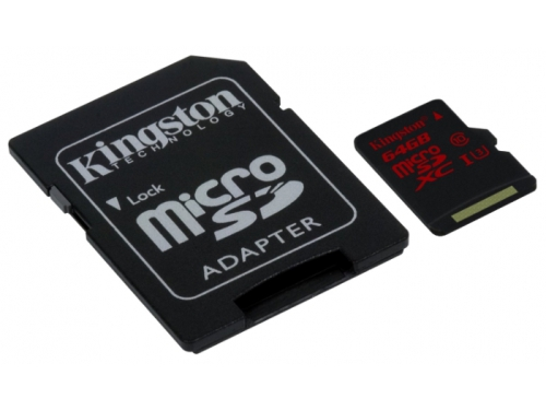 Карта памяти Kingston SDCA3/64GB (microSDXC, 64Gb, UHS-I, U3, SD-адаптер), вид 1