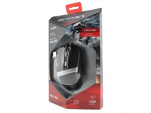 Мышка CROWN Gaming CMXG-801 (оптическая, радиоканал, 2xAA, 6+1 кнопок), чёрная, вид 8