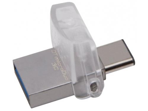 Usb-флешка Kingston DataTraveler microDuo 3C 128Gb, прозрачная, вид 3