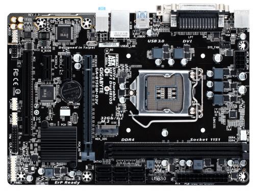 Материнская плата Gigabyte GA-B150M-D3V rev. 1.0 (mATX, LGA1151, Intel B150, 2x DDR4), вид 1