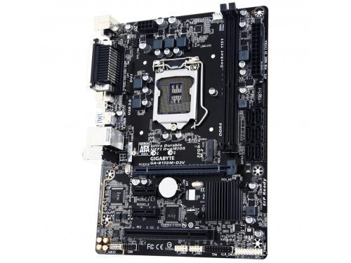 Материнская плата Gigabyte GA-B150M-D3V rev. 1.0 (mATX, LGA1151, Intel B150, 2x DDR4), вид 2