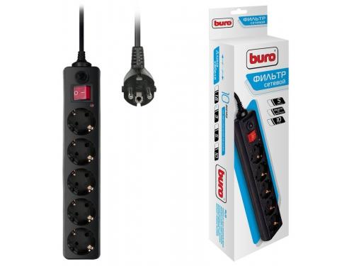 Сетевой фильтр Buro 500SH-3-B, черный, вид 1