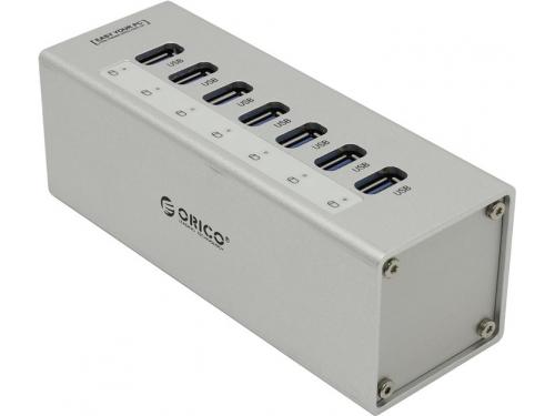 USB-концентратор Orico A3H7-SV, серебристый, вид 1