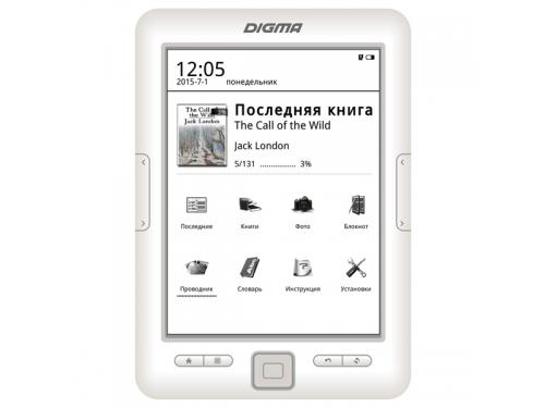 Электронная книга Digma E629 (6''E-Ink 1024x758, 128Mb + 4Gb, microSDHC), белая, вид 1