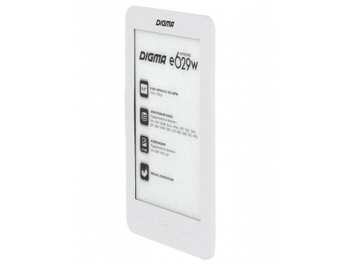 Электронная книга Digma E629 (6''E-Ink 1024x758, 128Mb + 4Gb, microSDHC), белая, вид 2