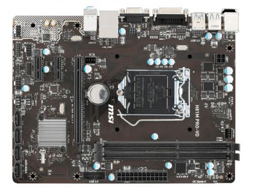 Материнская плата MSI H81M PRO-VD (Socket 1150, H81, 2xDDRIII, mATX, SATA2/3, USB2.0/3.0, VGA / DVI-D), вид 1