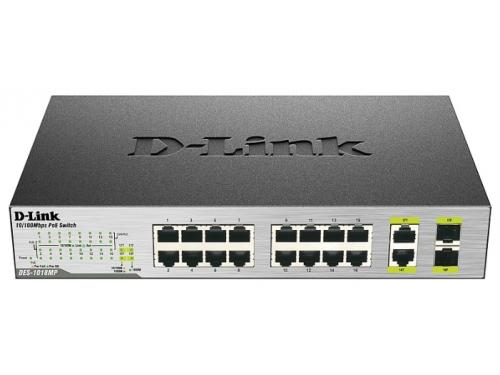 Коммутатор (switch) D-Link DES-1018P/A2A (неуправляемый), вид 1