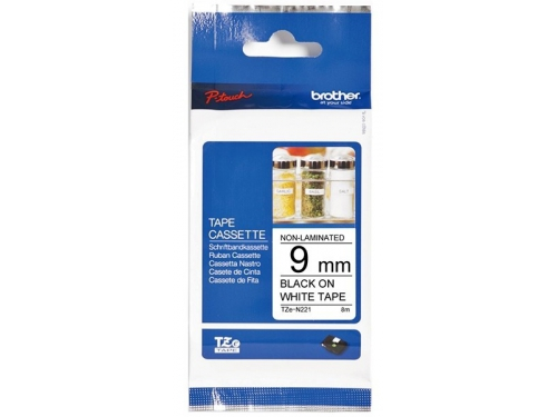 Лента для печати наклеек Brother TZ-E221 9mm Black/white, вид 1
