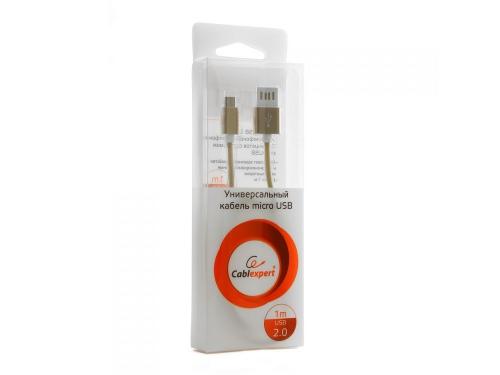 Кабель / переходник Gembird USB 2.0 Cablexpert 1м (CCB-mUSBgd1m) золотой металлик, вид 2