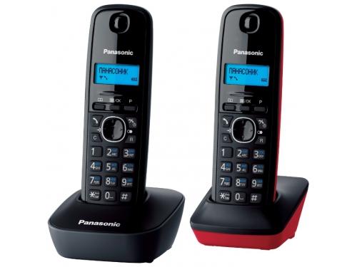 Радиотелефон Panasonic KX-TG1612RU3 темно-серый с красным, вид 1