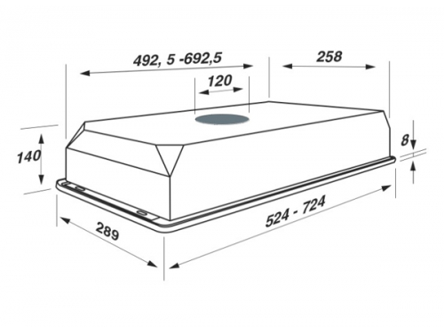 Вытяжка Jet Air CA 3/520 1M INX-09, PRF0005969, встраиваемая, вид 2