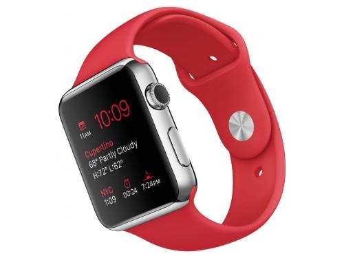 Умные часы Apple Watch with Sport Band нержавеющая сталь / красные, вид 1