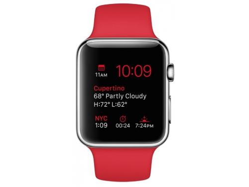Умные часы Apple Watch with Sport Band нержавеющая сталь / красные, вид 2