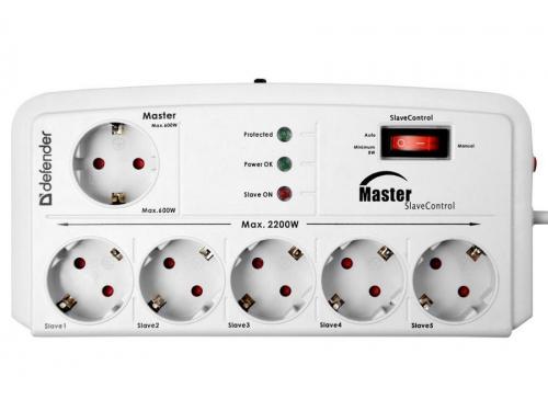 Сетевой фильтр Defender DFS 805 Master-Slave control, 6 розеток, 5 м, белый, вид 1