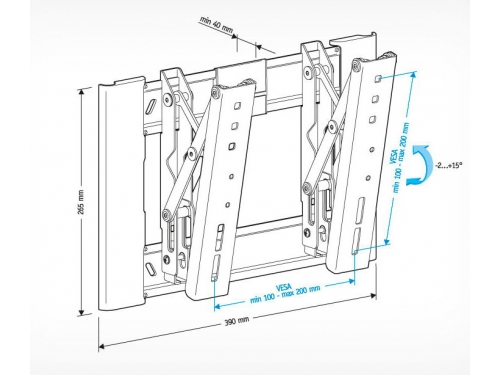 Кронштейн Holder LCD-T2607 (22-47'', до 30 кг, настенный с наклоном), вид 2
