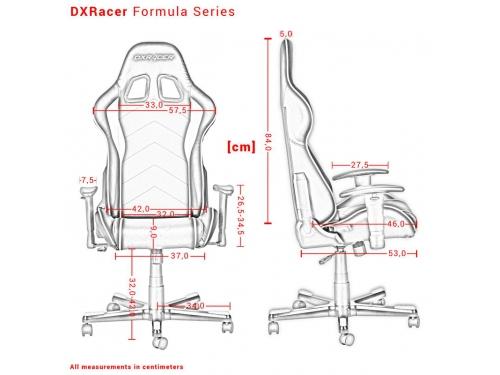 Игровое компьютерное кресло DxRacer OH/FE08/NE черное/зеленое, вид 9