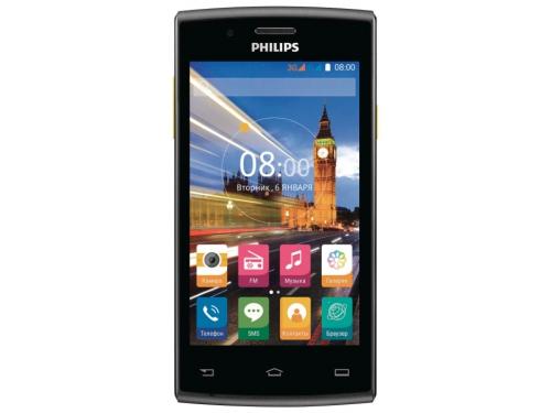 Смартфон Philips Xenium S307 4Gb, черный/желтый, вид 1