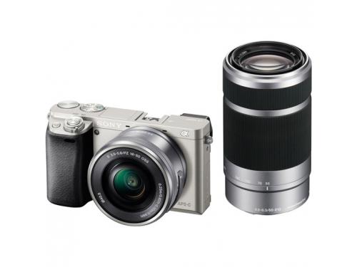 Цифровой фотоаппарат Sony Alpha A6000 Double Kit (SEL-1650 + SEL-55210), серебристый, вид 1